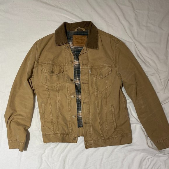 Flannel-Lined Trucker Jacket with Contrast Collar